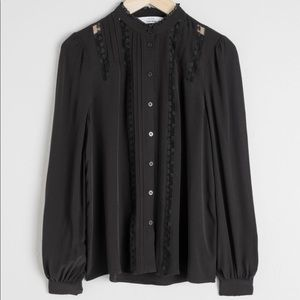 NWT & Other Stories Black lace inset blouse